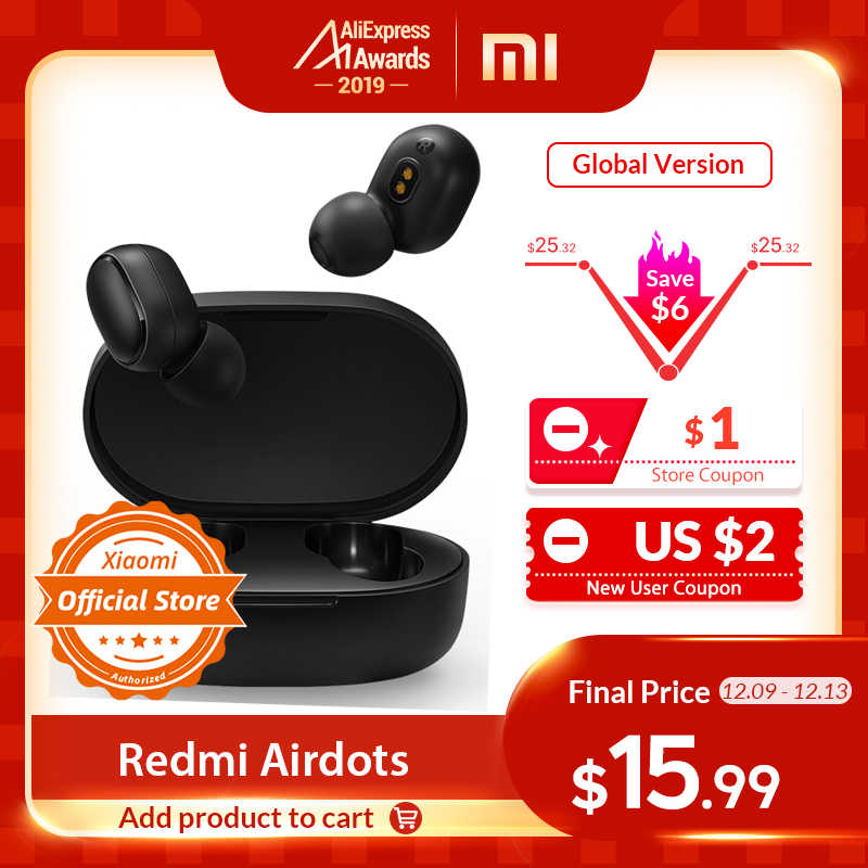 Xiaomi Redmi AirDots In Ear Bluetooth 5.0 Charging Earphone Wireless Bass Stereo Earphones With Mic Handsfree Earbuds AI Control