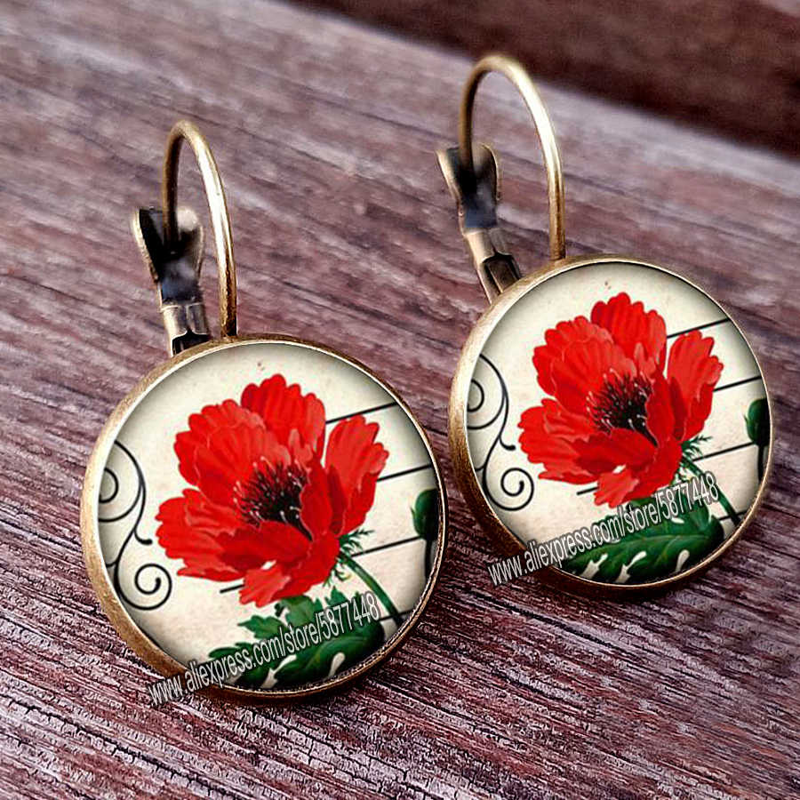 Poppy Bunga Merah Gadis Stud Anting-Anting Fashion France Anting-Anting untuk Wanita Ear Hook Anting-Anting Mawar Bunga Kaca Cabochon Anting-Anting