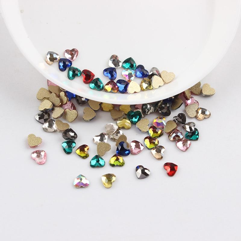 Все смешанные цвета, 30 шт, стразы для дизайна ногтей, сделай сам, без горячей фиксации, стеклянные камни для ногтей, драгоценные камни для 3D украшения для ногтей - Цвет: 3mm Heart