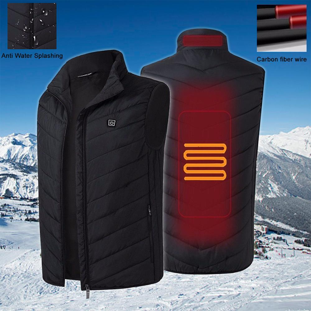 Electric Heated Vest Men Heating Waistcoat Thermal Warm Clothing Usb Heated Outdoor Vest Winter Heated Jacket