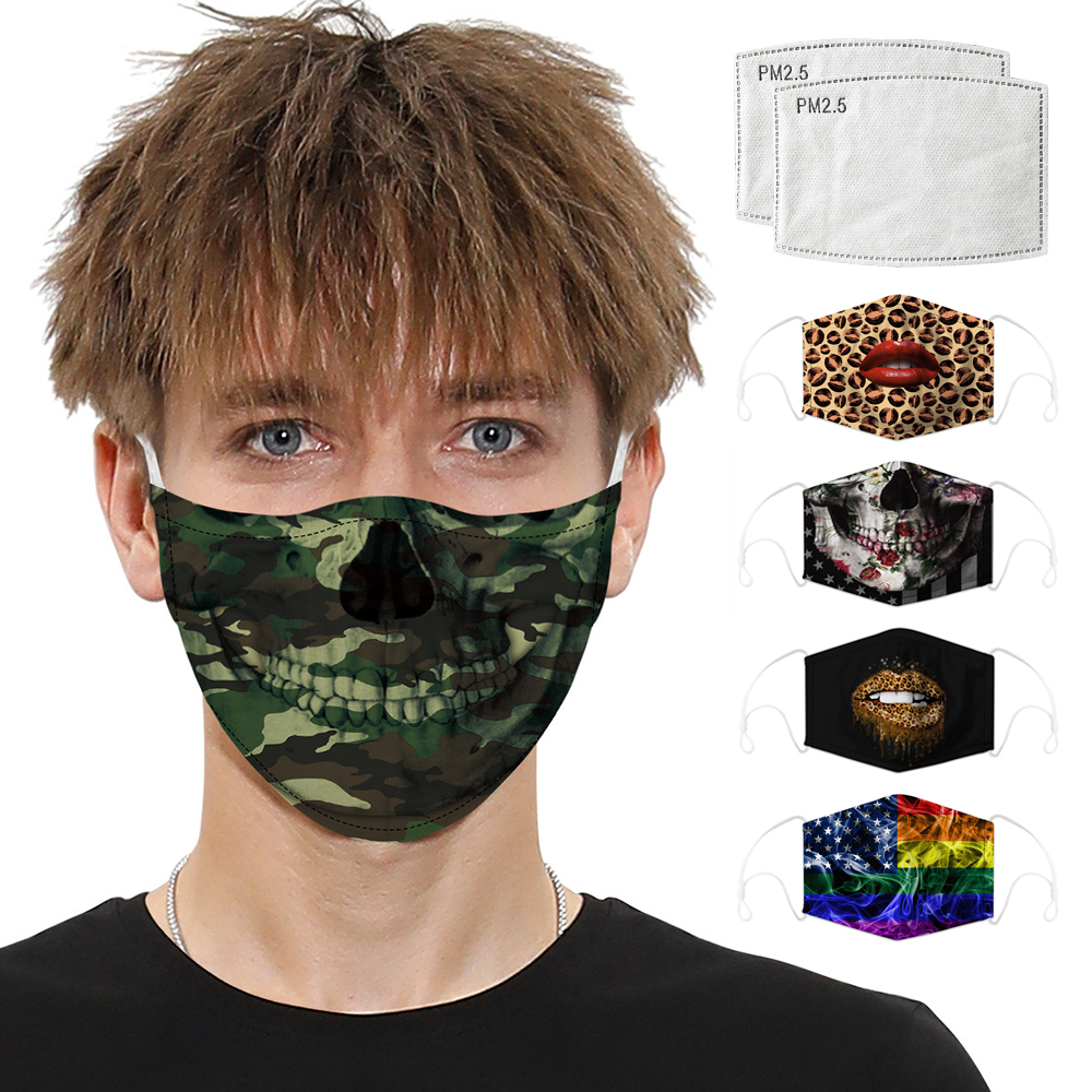 Digital Printing Face Masks Face Shield Respirator Mask Protective Caps Mouth Dust Activated Carbon Filter Reusable