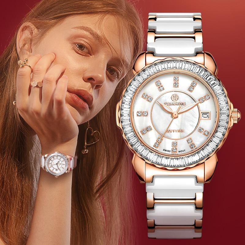 STARKING Brand Ceramic Watches New Arrival Quartz Women Luxury Watch Female Clock White Full Crystal Fashion Casual Wristwatches