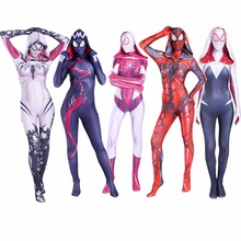 Gwen Stacy Costume Venom Spiderman Mask Hoodie Female Spider Cosplay Zentai Suit Superhero Bodysuit Jumpsuit Women Girls