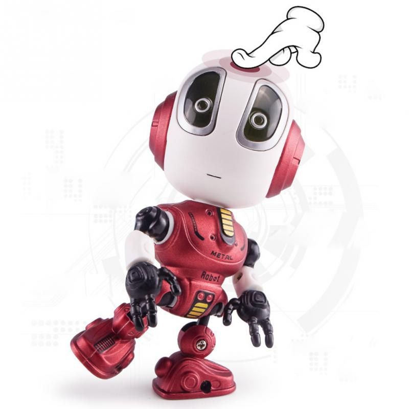 Funny Kids Robot Sound Recording Robot Toy LED Eyes Talking Cute Mini Moving Joint Smart Action Figure Children