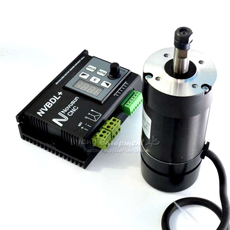 1Set CNC Air Cooled Spindle 400W 48VDC Brushless ER8 Diameter 55mm 600W Brushless Motor Driver NVBDL Without Hall For CNC Router