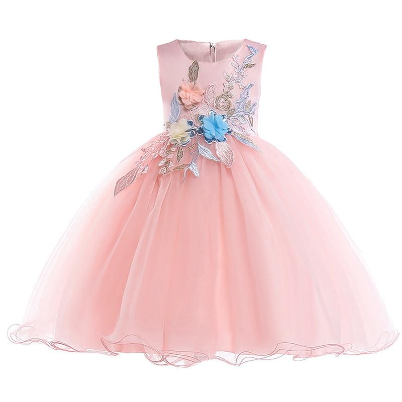 2019 Appliques Princess Formal Summer Party Girls Dress Kids Wedding Pageant Ball Gown Vestidos De Comunion Ladies Dress