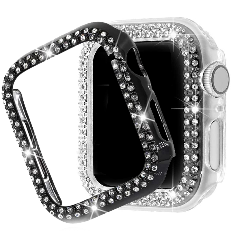Women Diamond case watch cover Protector for Apple Watch 6 SE 5 3 40mm 44mm Slim lady sport Case for IWatch 6 5 4 3 38mm 42mm