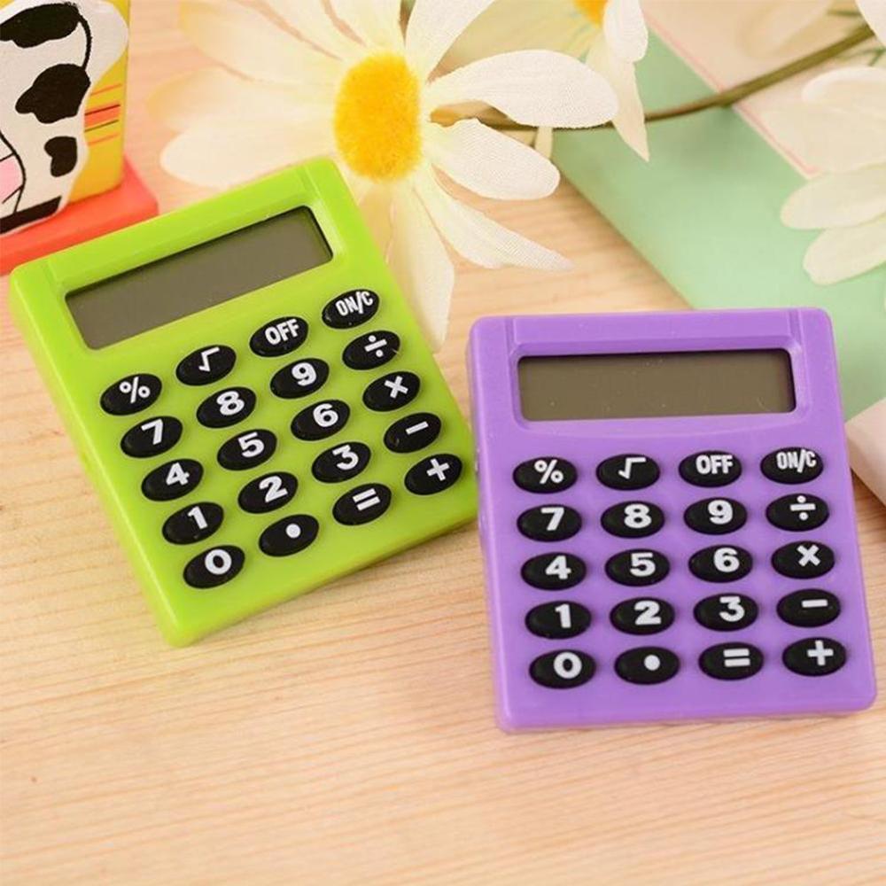 Yeni öğrenci küçük Mini elektronik hesap makinesi şeker 5 renkler hesaplama ofis malzemeleri hediye