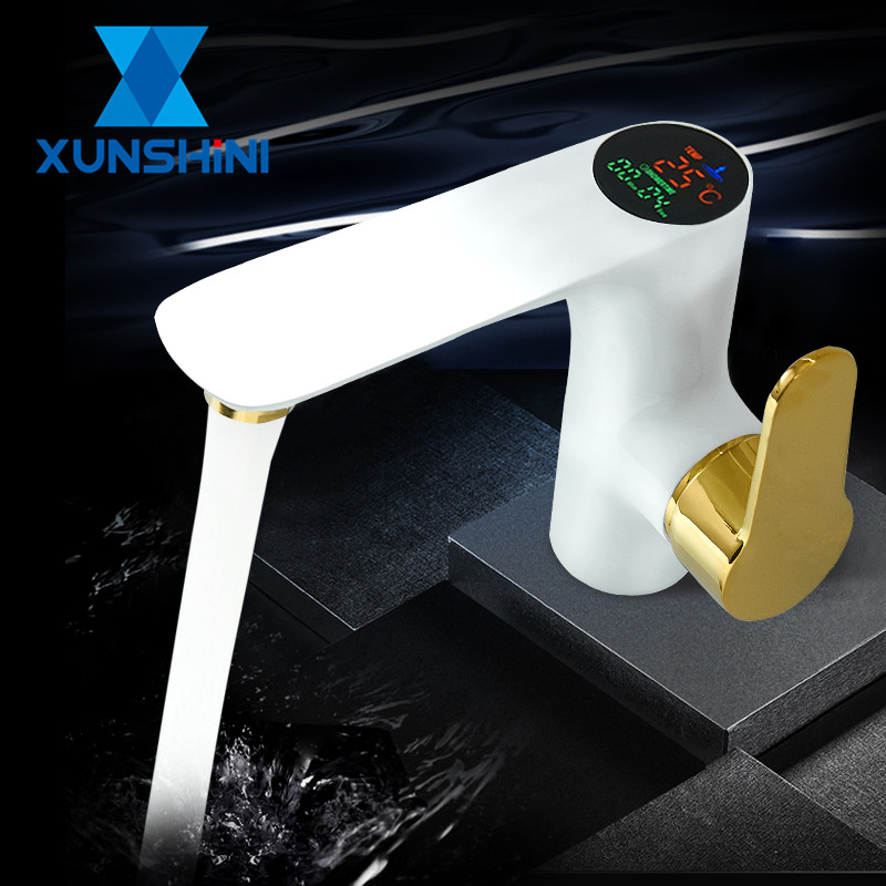 XUNSHINI Bathroom Led Digital Bathroom Sink Faucet Power Brass Sink Taps Cold And Hot Temperate Display Water faucet Mixer Tap