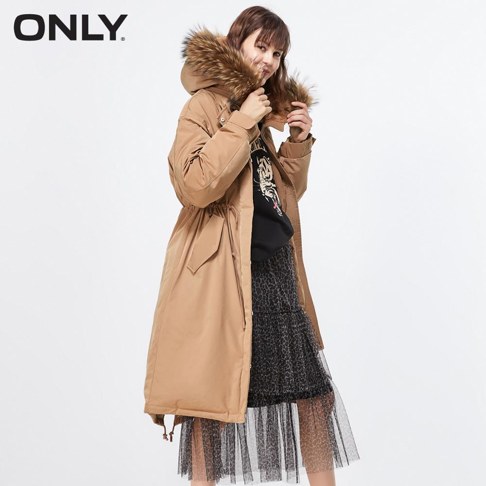 ONLY  Autum Winter New Arrivals Long Letter Print Cinched Waist Down Jacket | 119312522
