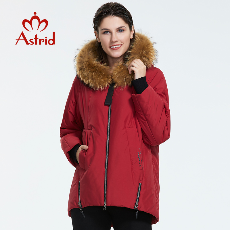Astrid2019 Winter New Arrival Down Jacket Women And Fur Collar Thick Cotton Loose Clothing Outerwear Quality Winter Coat AT-9227