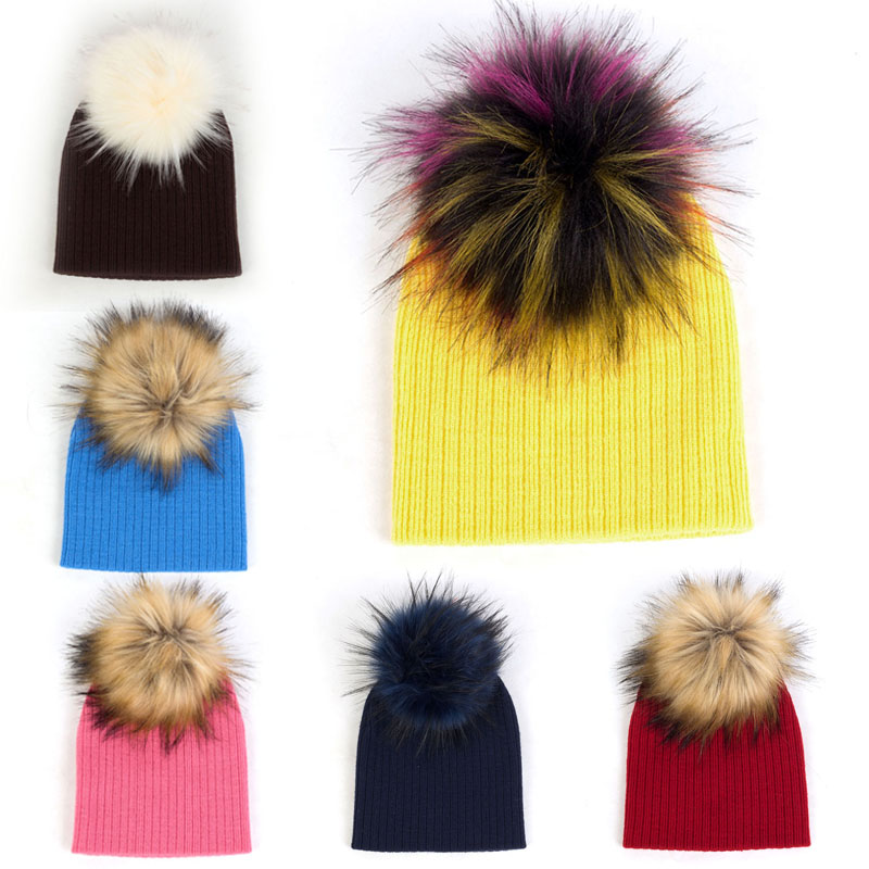 Winter Ribbed Baggy Thicken Knitted Hats With Pom Pom For Kids Newborn Baby Girls Warm Elastic Soft   Beanies   Toddler Hat Caps