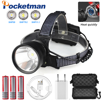 USB Rechargeable LED headlamp  xhp90.2 powerful Headlight XHP70 high power fishing torch led Camping