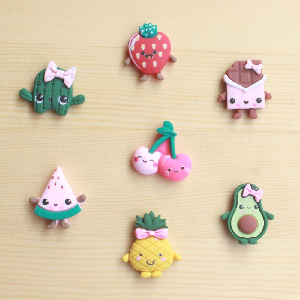 10Pcs Cartoon Fruit Flatback Resin Cabochon Kawaii Smile Face Cabochons Embellishments For Scrapbooking DIY Kid Hair Bows Center