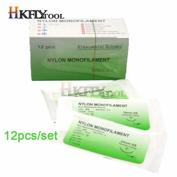 12Pcs/set Nylon Monofilament Medical Thread With Needle Suture Training Practice 75cm to Improve Medical Technique Exercises 1