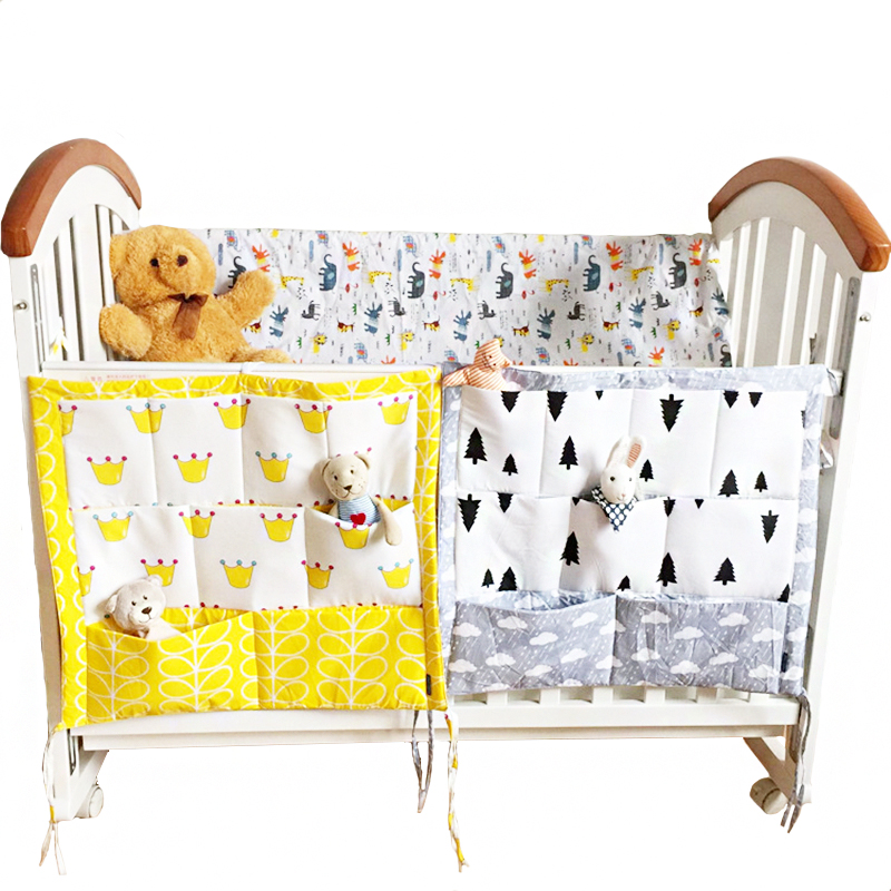 55*60cm Crib Baby Bed Bumper Hanging Storage Bag Multi-functional Muslin  Cot Pocket     Bedding Bumper