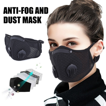 PM2.5 Cotton Adult Mouth Mask Silicone  Anti Dust Mask Activated Carbon Filter Windproof Washable Reusable Proof Flu Face Masks