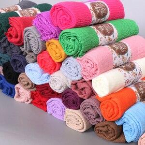Image 1 - Foulard Hijab en coton pour femmes musulmanes, doux froissé, Long châle, étole islamique, foulards à la mode