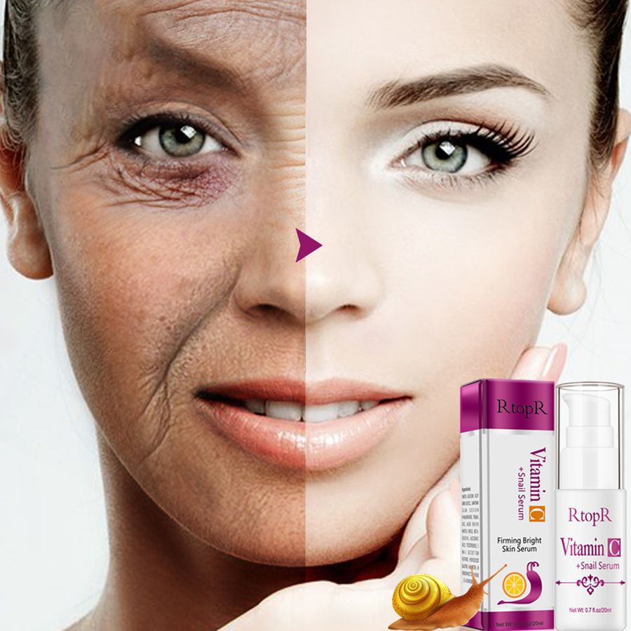 Snail VitaminC Serum Rejuvenation Anti Wrinkle Firming Bright Skin Facial Serum Ance Treatment Snail Collagen Repair Face Serum