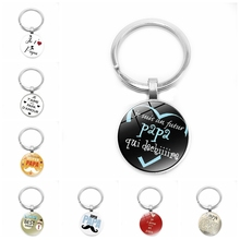 2019 New Mens Keychain Jewelry with Silver Glass Cabochon SUPER PAPA Super Dad Car Fathers Day Gift