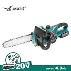 Sierra de cadena inalámbrica de 20V, batería de 4,0 Ah y cargador, cortador de madera para el hogar