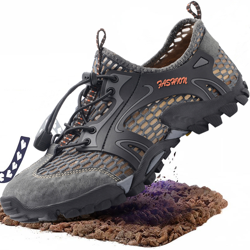 Breathable Waterproof Hiking Shoes Men Suede Mesh Outdoor Sneakers Rock Climbing Shoes Man Sport Quick-dry Trail Trekking Shoes