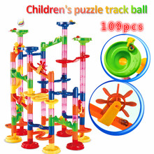 NEW DIY Marble Race Run Track Huge Construction Building Blocks Maze Ball Roll Toys Educational Toy Kid's Gifts Dropshipping