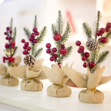 Unique Christmas Tree Pine Branch Red Cones Desktop Decoration Festival Party Supplies