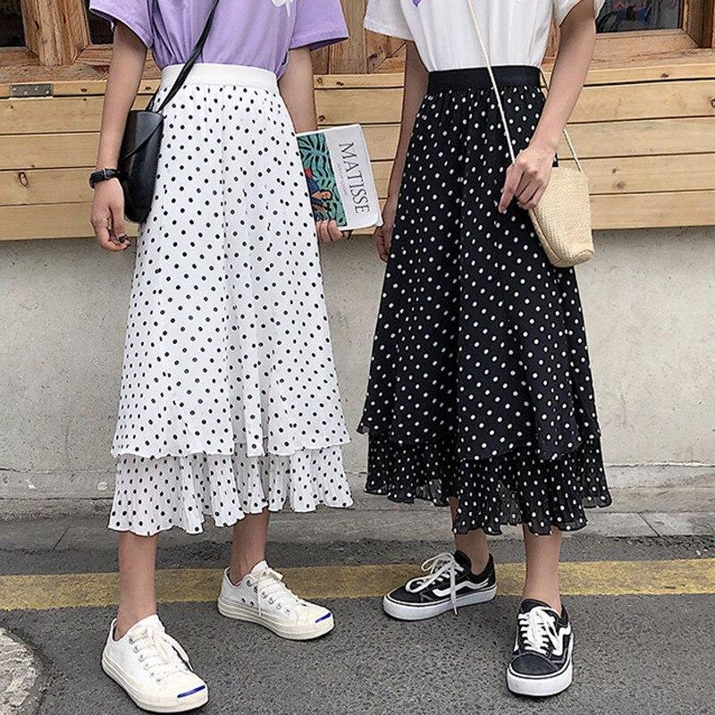 CHIC Network Red Wave Point Chiffon Skirt Women's 2019 Summer Korean-style Elegant Slimming Mid-length Pleated Cake