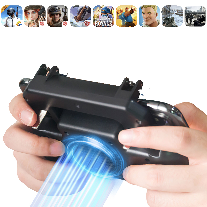 Pubg Controller Gamepad Pubg Mobile Trigger L1R1 Shooter Joystick Game Pad Phone Holder Cooler Fan with 2000/4000mAh Power Bank-in Gamepads from Consumer Electronics