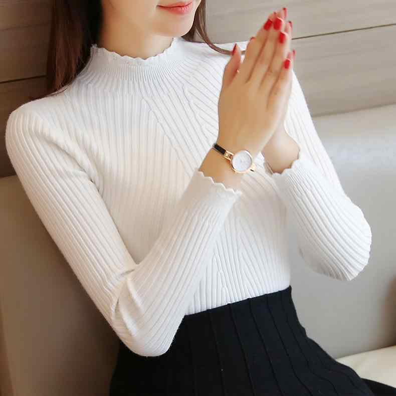 Sale 2019 winter women ladies long sleeve turtleneck slim fitting knitted thin sweater top femme korean pull tight casual shirts