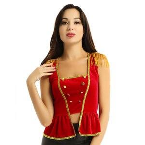 Image 3 - النساء فستان بتصميم حالم السيرك زي أعلى لينة المخملية ساحة الرقبة أكمام مع الكتفية قميص أعلى هالوين السيرك زي أعلى