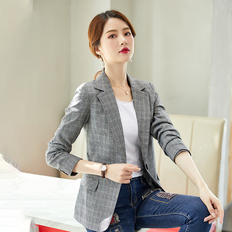 Temperament Women's Grey Plaid Small Suit Feminine 2020 Spring and autumn casual elegant ladies blazer Fashion interview jacket