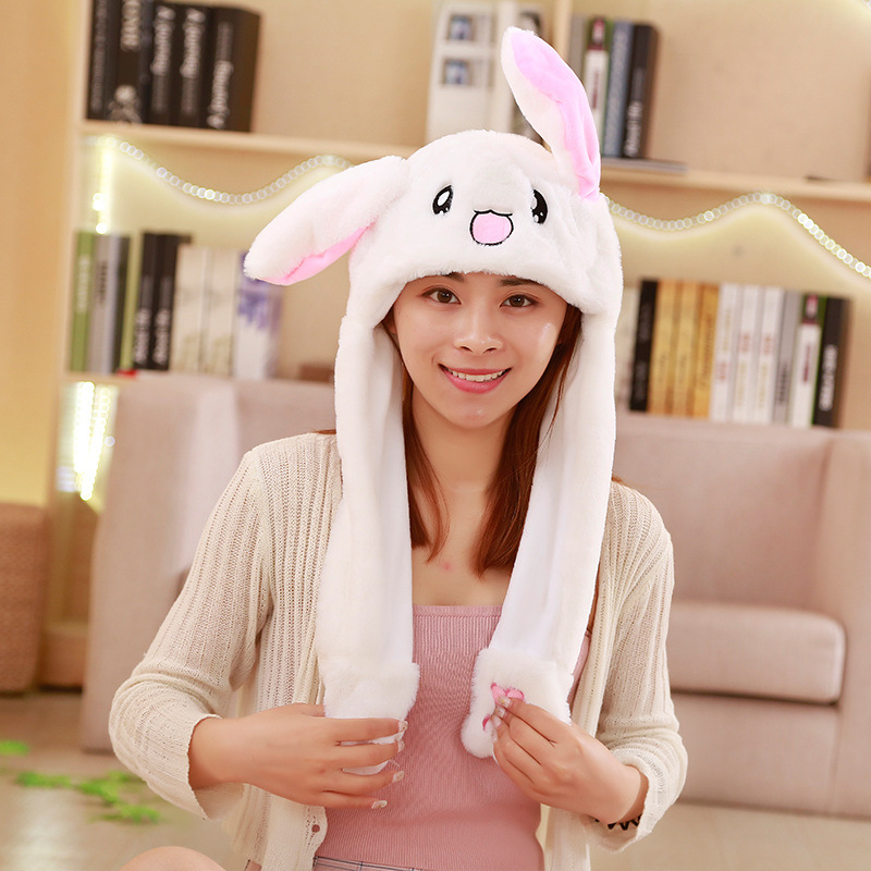 Cute Animal Rabbit Hat Moving Ears Cartoon Toy Hat Airbag Kawaii Funny Toy Cap Kids Plush Toy Birthday Gift Fur Hats For Women