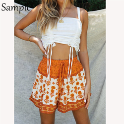 Sampic 2021 Summer Beach Floral Print Boho Shorts Set Women Tracksuit Lounge Wear Tops And High Waist Mini Shorts Two Piece Set