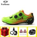 Tiebao zapatos de ciclismo de carretera para hombres añadir pedal conjunto de fibra de carbono ultraligero auto-bloqueo Pro bicicleta zapatos de bloqueo de bicicleta zapatillas de mujer