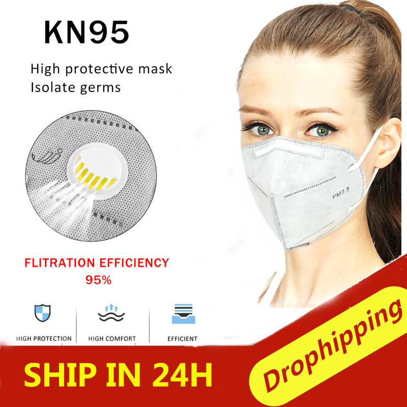 50 Pcs Anti-Virus N95 MaskS 6 Layers Dust-Proof Smoke-Proof Prevent Flu N95 Face Mask With Valve Activated Carbon Mask Women Men