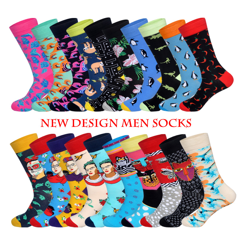 Lionzone Winter New Arrived Men Socks Funny Design National Style Animals&Human Beings  Hip Hop Happy Socks  Gifts For Men