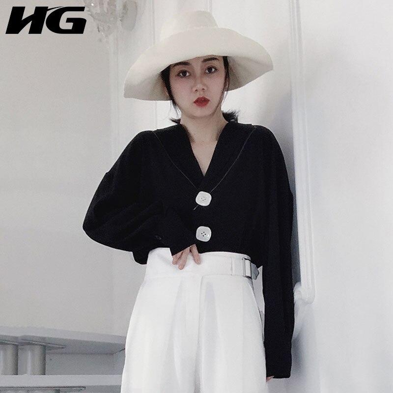 HG Vintage Blouse femmes noir à manches longues col en V bouton mode mince Joker élégant 2019 nouveau automne chemises dames ZYQ1399