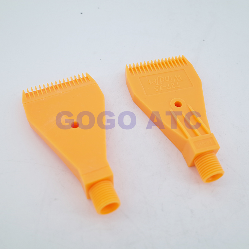 1//4BSP Male Thread ABS Three Holes Air Blow Off Flat Jet Nozzle Orange