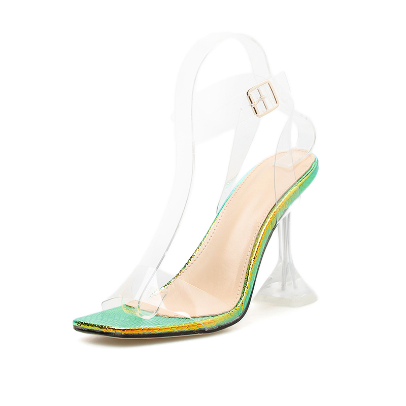 Image 4 - Kcenid 2020 New fashion PVC jelly sandals women open toe ankle strap transparent ladies sandals shoes perspex heel clear shoesHigh Heels   -