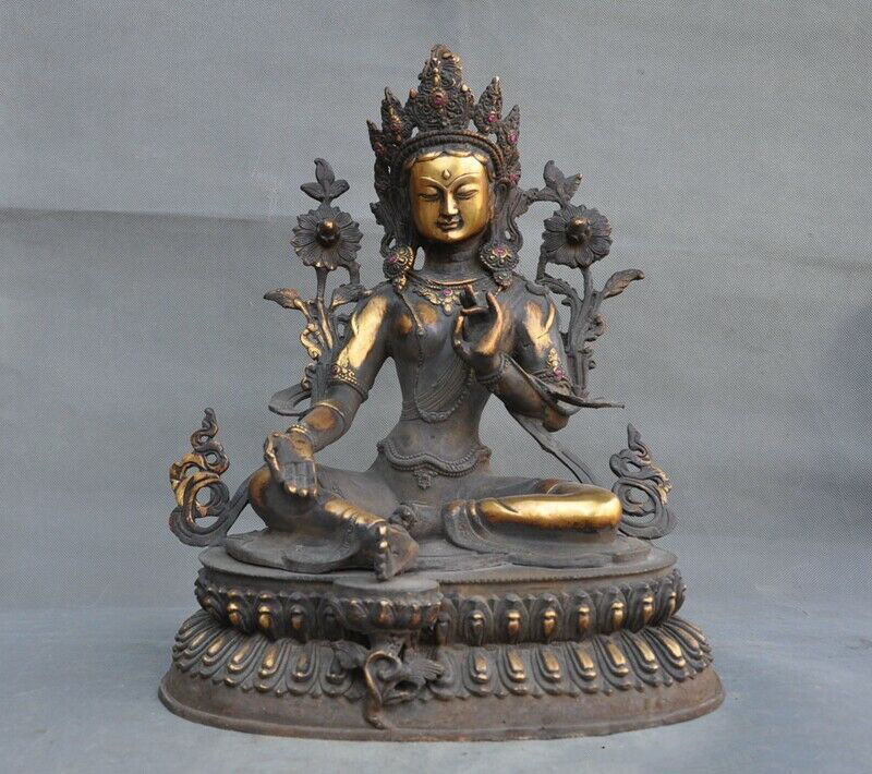 Wedding Decoration Tibet Buddhism Bronze Copper Inlay Gem Green Tara Goddess Kwan-yin Buddha Statue