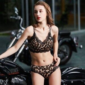 Image 3 - Biustonosz zestaw kobiet bielizna kamuflaż Leopard kobiece majtki Lingeries 4 kolor moda wybierz B0191