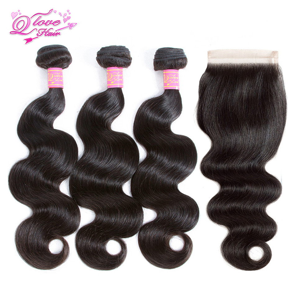 Queen Love Hair Brazilian Body Wave Bundles With Closure Remy Human Hair Bundles With Lace Closure Natural Color Extension