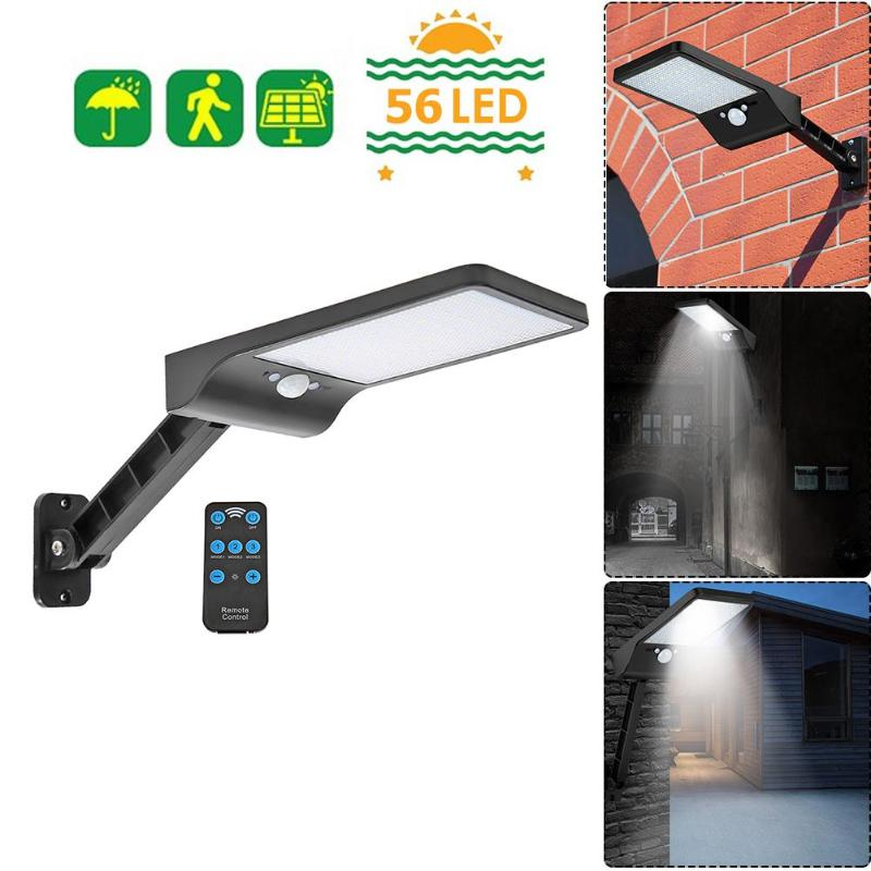 56LED Solar Motion Sensor Street Light Remote Control Three Shield Adjustable Outdoor Garden Wall Lamp Black/White 20x11cm