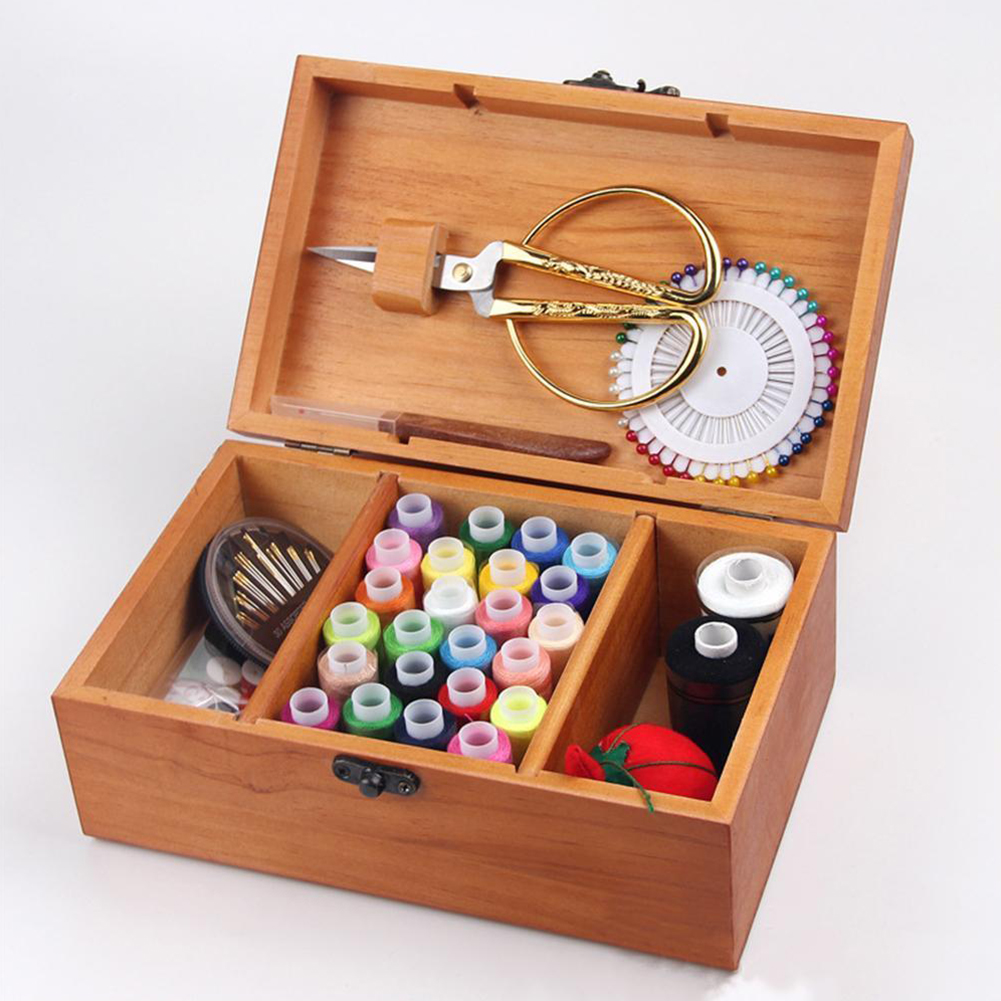 Accessories Storage Case Practical Gift Portable Empty Multifunctional Basket Rectangle Sewing Box Wooden Compartments Organizer