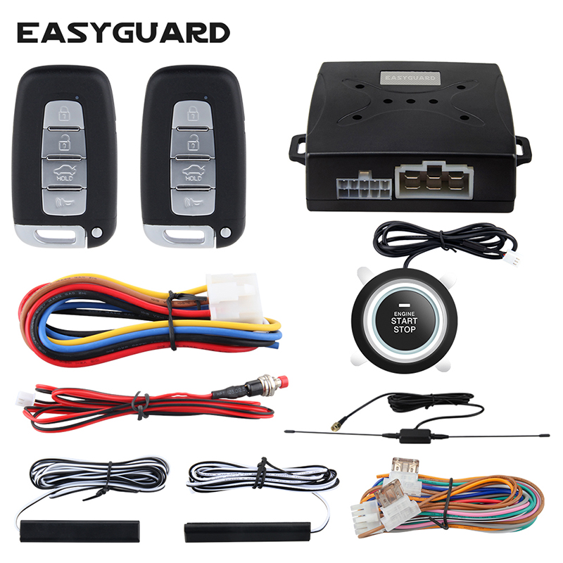 EASYGUARD keyless entry system start stop pke car alarm system start stop button car central lock auto alarm remote engine start
