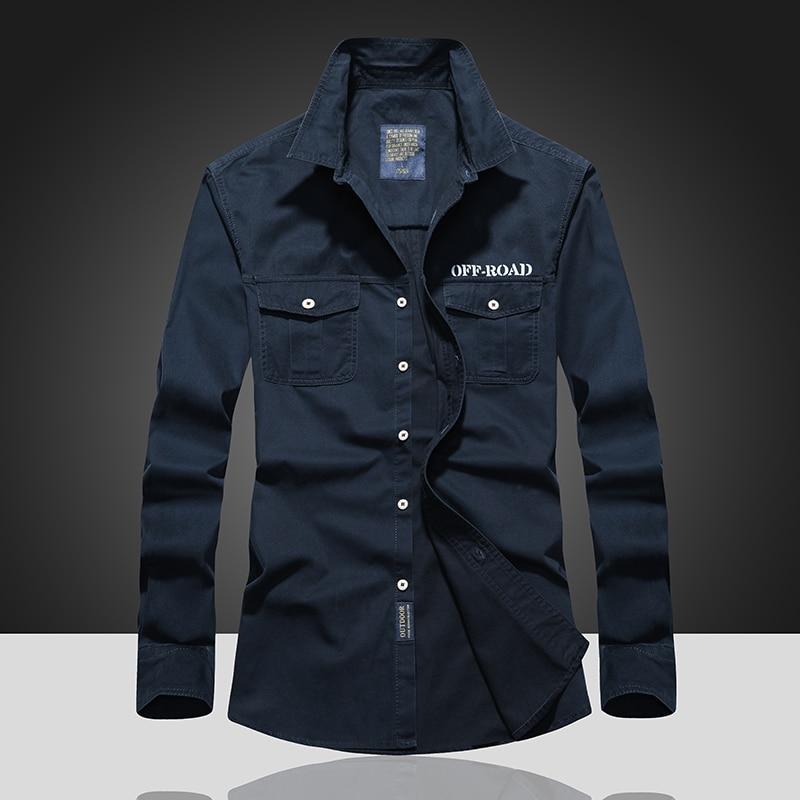 Large Sizes Military Wind Mens Shirts Double Pocket Pattern Mens Shirt Autumn M-7XL Men Shirt Long Sleeve