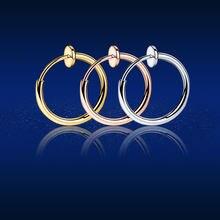 5 pçs círculo orelha clipe sem piercing jóias punk pequenos brincos de argola retrátil simples moda unisex nariz lábio orelha hoop clipes