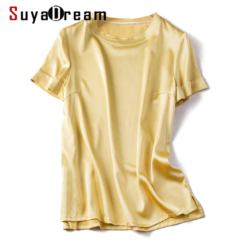 SUYADREAM Women Summer Blouses 100% REAL SILK Satin O Neck Short Sleeved Solid Casual Blouse Shirt 2020 Spring Summer Shirts